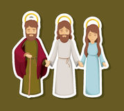 Jesus mary and joseph cartoon design. Jesus mary and joseph cartoon icon. Holy night family christmas and betlehem theme. Colorful design. Vector illustration Stock Photography