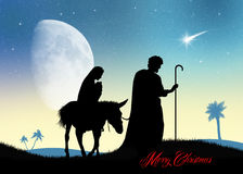 Jesus, Mary and Joseph. Illustration of Jesus, Mary and Joseph at Christmas Royalty Free Stock Photos