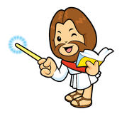 Jesus mascot is holding a book and teaching. Royalty Free Stock Photo