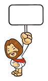 Jesus Mascot is splashed to hold a picket. Stock Photography
