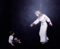 Jesus med en barnillustration fotografering för bildbyråer