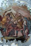 Jesus meets his mother, Way of the Cross. Fresco on the ceiling of the Church of Our Lady of Sorrows in Rosenberg, Germany Stock Image