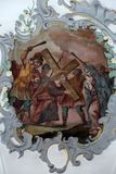Jesus meets his mother, Way of the Cross. Fresco on the ceiling of the Church of Our Lady of Sorrows in Rosenberg, Germany Royalty Free Stock Photography