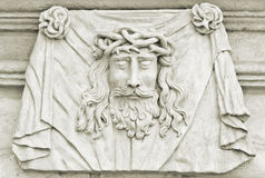Jesus Memorial Plaque. Jesus Christ with a crown of thorns royalty free stock photos