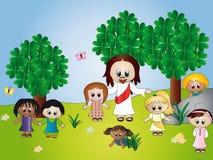 Jesus met kinderen royalty-vrije illustratie