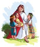 Jesus met kinderen Stock Fotografie