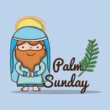 Jesus met palmtak aan katholieke godsdienst royalty-vrije illustratie