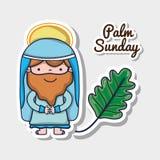 Jesus met palmtak aan traditionele godsdienst stock illustratie