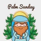 Jesus met palmtakken aan katholieke godsdienst vector illustratie