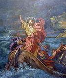 Jesus` miracle. Jesus Calms a Storm on the Sea royalty free stock photos