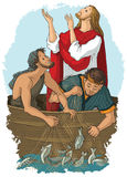 Jesus and the miraculous catch of fish Royalty Free Stock Image