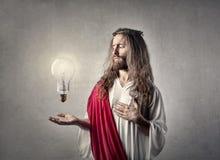 Jesus mit einer Birne Stockbild