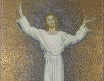 Jesus. Mosaic Jesus on the wall  of church Stock Images