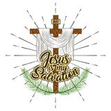 Jesus is my salvation cross and branches palm. Vector illustration Stock Image