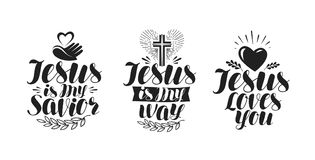 Jesus is my Savior, calligraphy. Bible lettering. Vector illustration Royalty Free Stock Photos