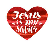 Jesus is My Savior. Lettering, calligraphy in shape heart. Vector illustration Royalty Free Stock Photography