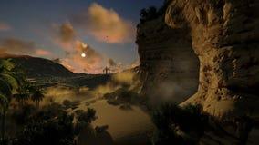 Jesus na cruz e na luz da ressurreição, nascer do sol do timelapse à tarde, metragem conservada em estoque
