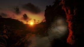 Jesus na cruz no nascer do sol e na luz da ressurreição, inclinação, metragem conservada em estoque filme