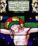 Jesus na cruz - vitral imagens de stock royalty free