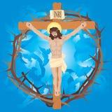Jesus nagelde aan het kruis met kroon van doornen. Stock Afbeeldingen