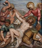 Jesus is nailed to the cross, 11th Stations of the Cross Stock Photography