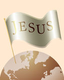 Jesus Name on Flag over the Earth Stock Photos