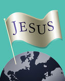 Jesus name on gold flag above the blue earth | Christianity spiritual abstract art illustration Stock Photo