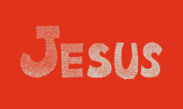 Jesus name line art drawing on orange background | abstract christian decorate illustration Royalty Free Stock Photo