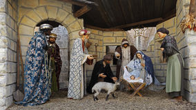 Jesus nativity scene in Church of Nativity, Bethlehem, Palestine Stock Photos