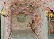 Jesus och Mary förlägger var de dolde den Coptic kyrkan i Cai Arkivbild
