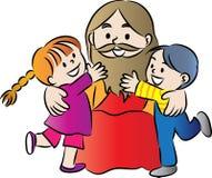 Jesus och ungar Arkivbild