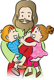 Jesus och ungar Arkivfoto