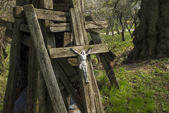Jesus on the old cross Stock Image