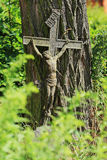 Jesus on the old village Cemetery, Czech Republic Royalty Free Stock Photo