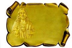 Jesus op een gouden plaque Stock Afbeeldingen