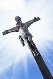 Jesus op het kruis Stock Foto
