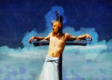 Jesus op het kruis, avanrgard interpretatie met grafische stylization stock foto's