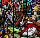 Jesus op via Dolorosa - Gebrandschilderd glas Stock Fotografie