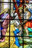 Jesus op via Dolorosa - Gebrandschilderd glas Royalty-vrije Stock Afbeelding