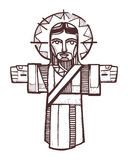 Jesus Open Arms. Hand drawn vectors illustration or drawing of Jesus with open arms Royalty Free Stock Images