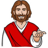 Jesus Open Hand. Jesus with an open palm, symbolizing welcoming or giving