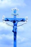 Jesus på korset. Arkivbild