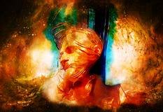 Jesus på korset i kosmiskt utrymme Brandeffekt Arkivfoton