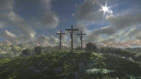 Jesus på korset, timelapsemoln som regnar stock illustrationer