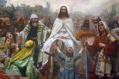 Jesus på palmsöndag arkivbilder