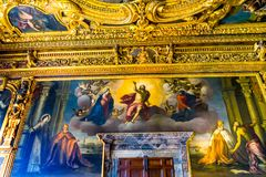 Jesus Painting Grand Council Palazzo Ducale Doge& x27; s Paleis Venetië royalty-vrije stock afbeelding