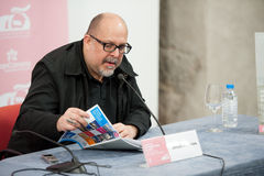 Jesus Palacios. LAS PALMAS, SPAIN–MARCH 22:Writer Jesus Palacios, from Madrid, also know for his film criticism, during press meeting at LPA International Film Royalty Free Stock Photography