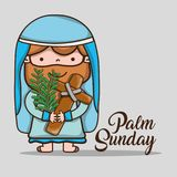 Jesus with palm branches on sunday palm vector illustration