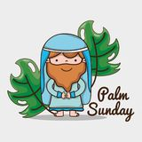 Jesus and palm branches to catholic religion royalty free illustration