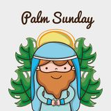 Jesus with palm branches to catholic religion vector illustration